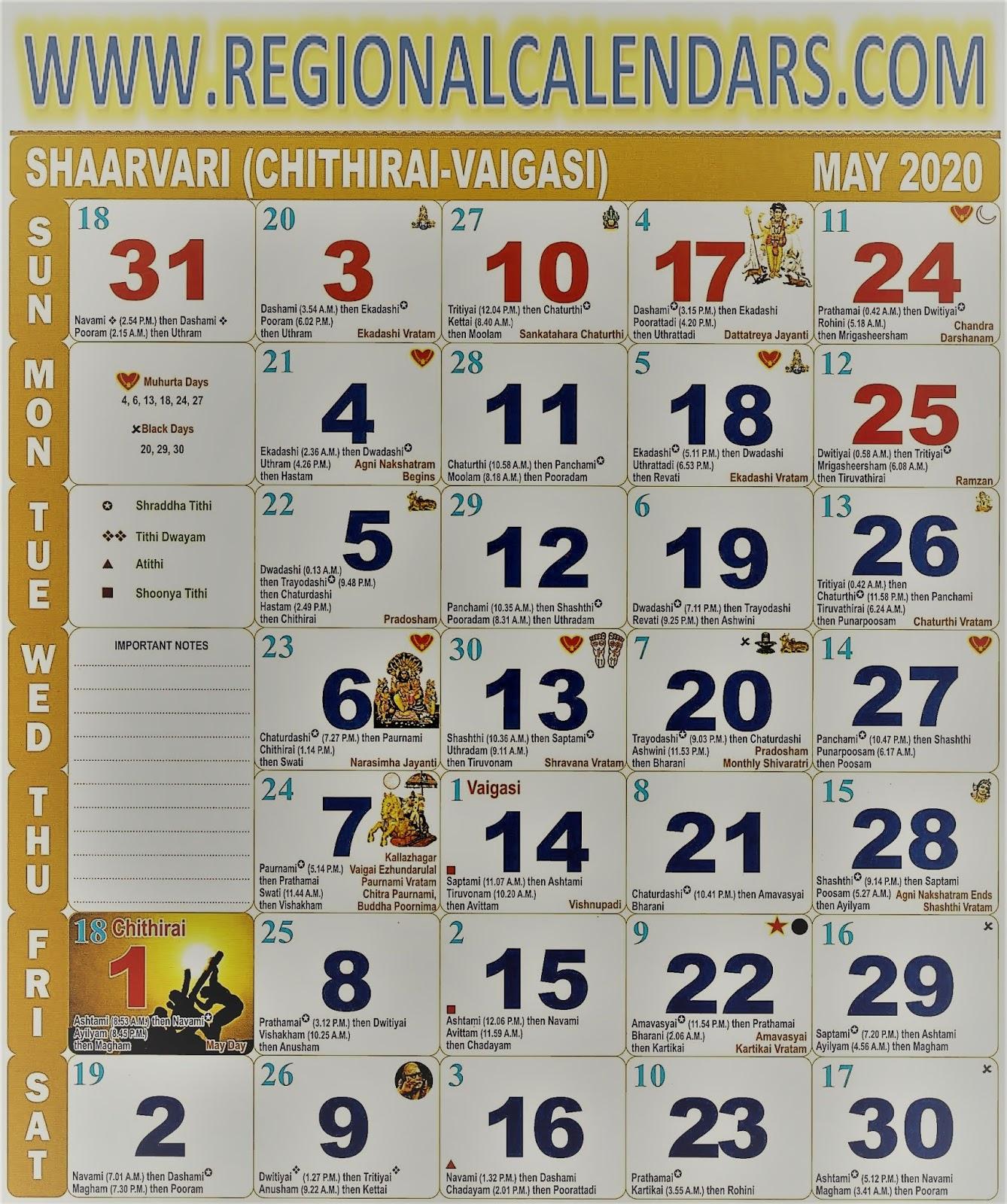 Tamil Calendar. May,2020.