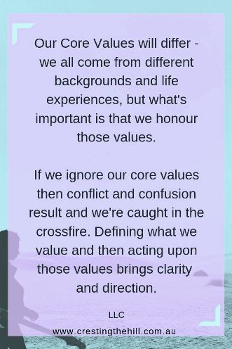 If  we ignore our core values then conflict and confusion result and we're caught in the crossfire. LLC #inspirationalquotes
