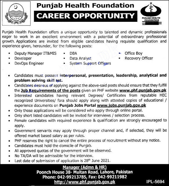 Punjab Health Foundation Jobs 2021 | PHF jobs Latest 2021