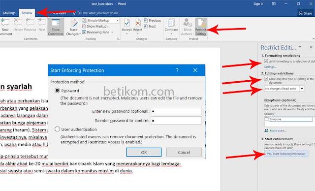 Cara mengunci dan membuat password di dokumen word agar tidak bisa diedit