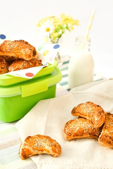 Spinach and cream cheese parcels and a green lunch box