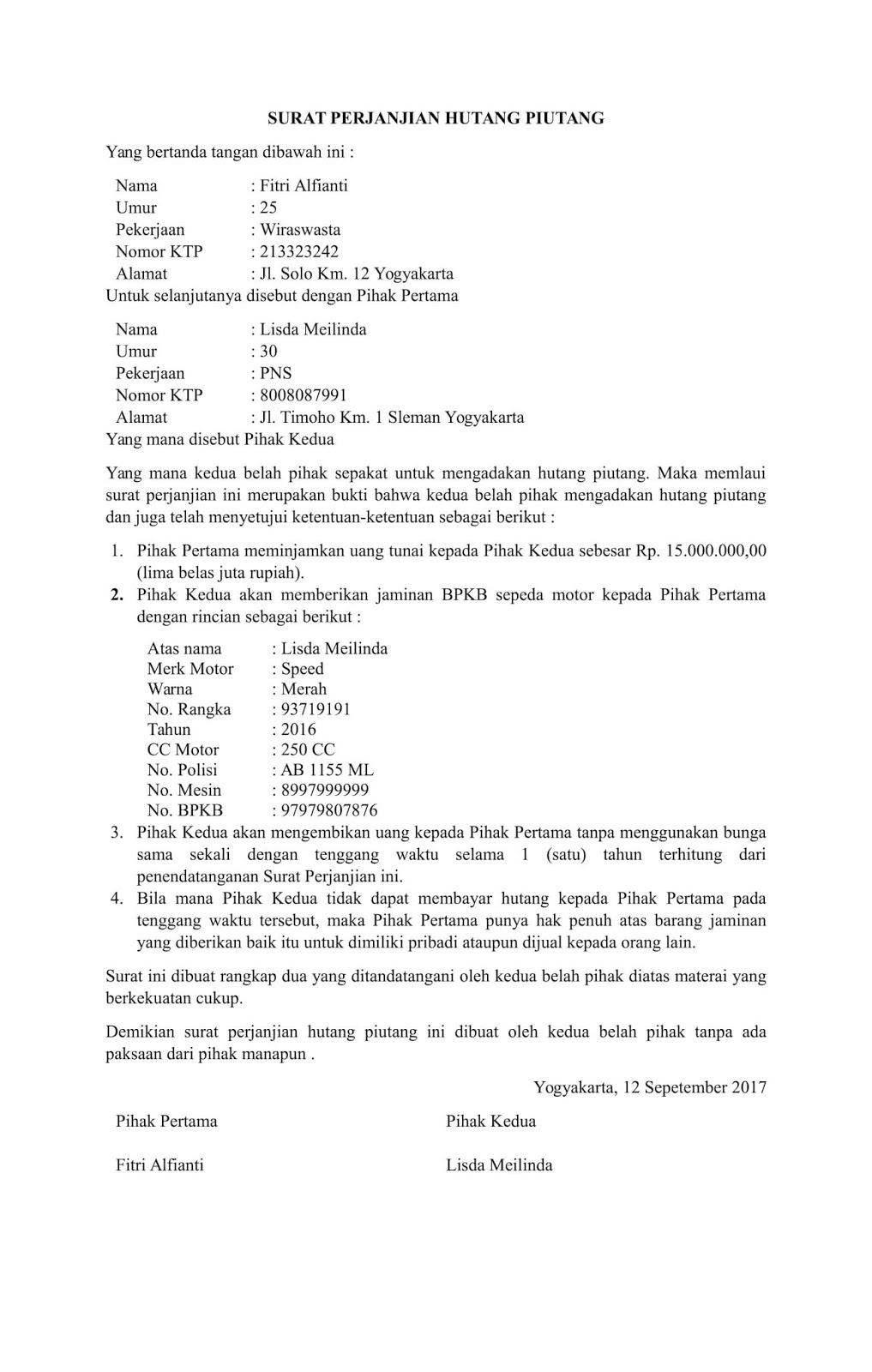 Contoh Surat Perjanjian Hutang Lengkap Dengan Jaminan