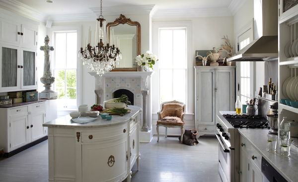 white Dutch kitchen of interior designer Annie Brahler of Eurotrash