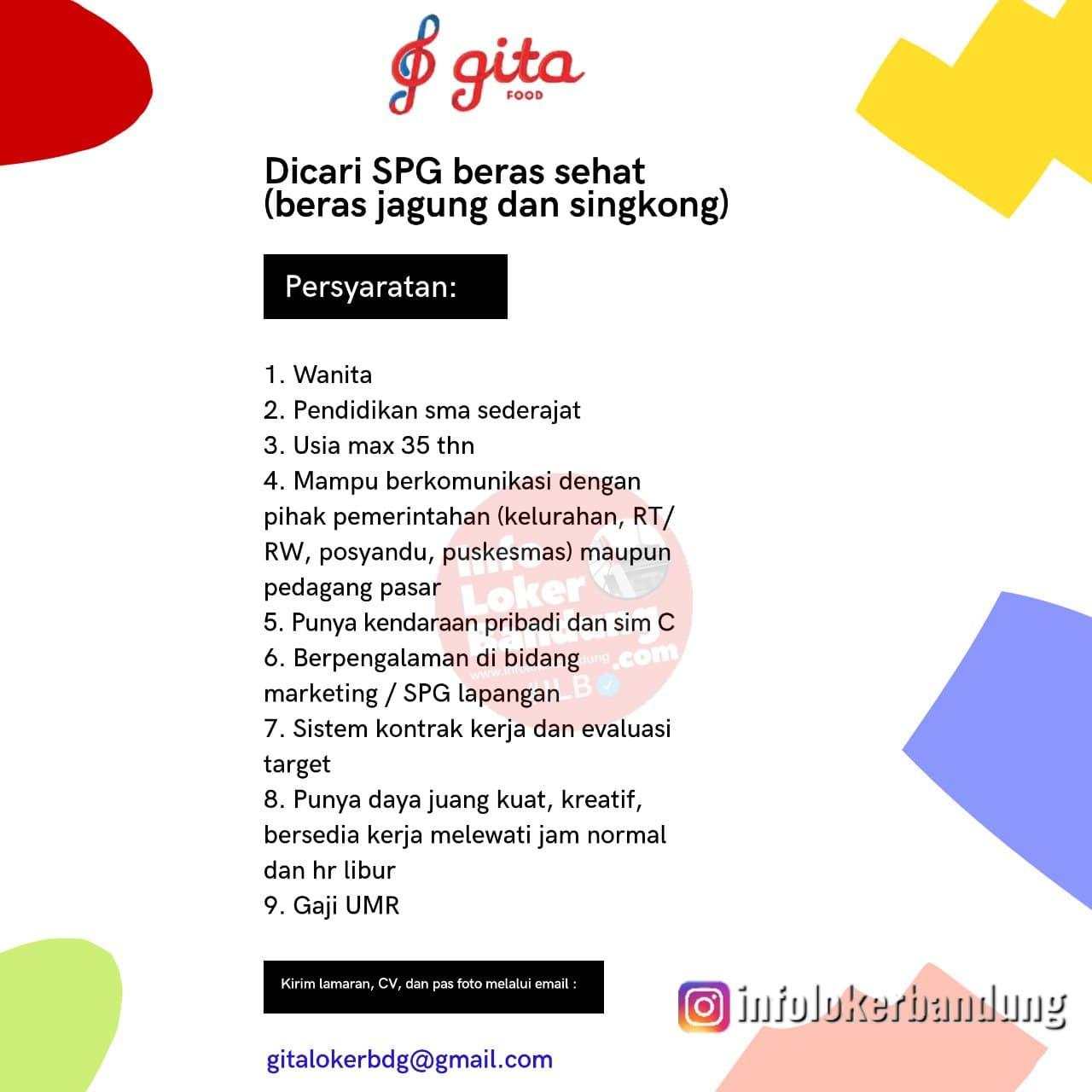 Lowongan Kerja SPG Beras Sehat PT.Gita Food Bandung Desember 2020