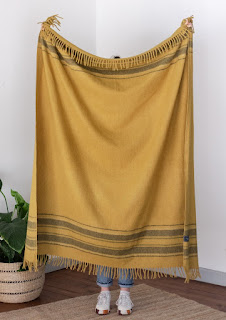 The Tartan Blanket Co. - Recycled Wool Blanket in Mustard Stripe