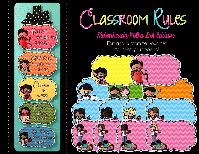 http://www.teacherspayteachers.com/Product/Editable-Classroom-Rules-Melonheadz-Chevron-Edition-1336749