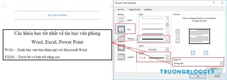 Tạo khung trong Word cho cả trang và đoạn văn bản đẹp, dễ thực hiện