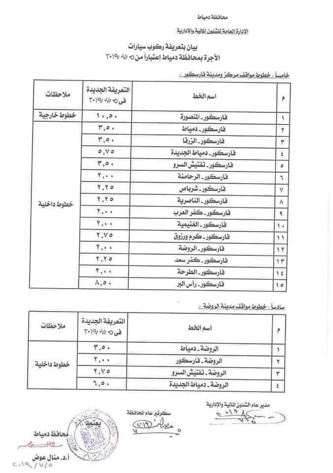 ننشر التعريفه الجديده للمواصلات داخل وبين المدن المصرية بعد زياده اسعار الوقود بجميع المحافظات FB_IMG_1562330234214