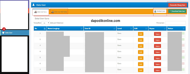 Fungsi menu data user di aplikasi e-rapor