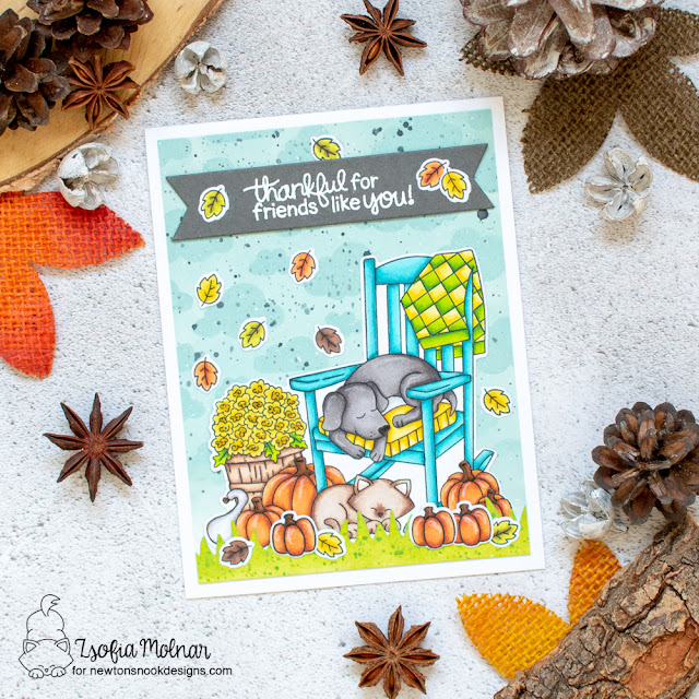 Fall Dog and Cat Friendship Card by Zsofia Molnar | Fall Friends Stamp Set, Cloudy Sky Stencil, Hardwood Stencil and Frames & Flags Die Set by Newton's Nook Designs #newtonsnook