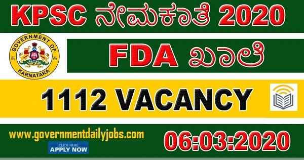 KPSC FDA 2020 Jobs for 1112 Vacancy