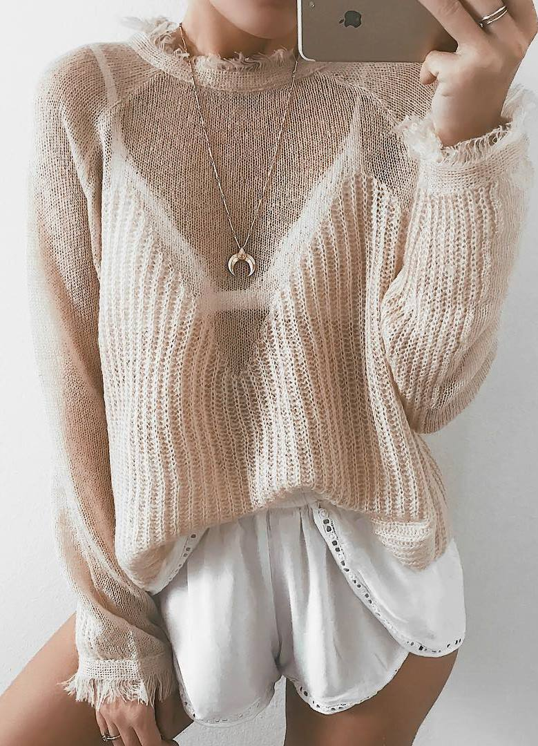 white and nude cozy outfit / sweater and shorts