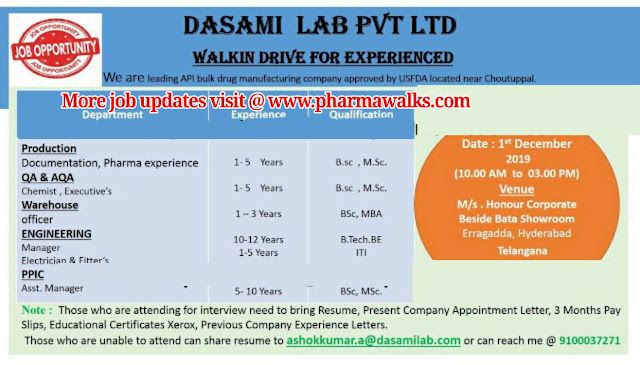 Dasimi Labs walk-in interview for multiple positions on 1st Dec' 2019