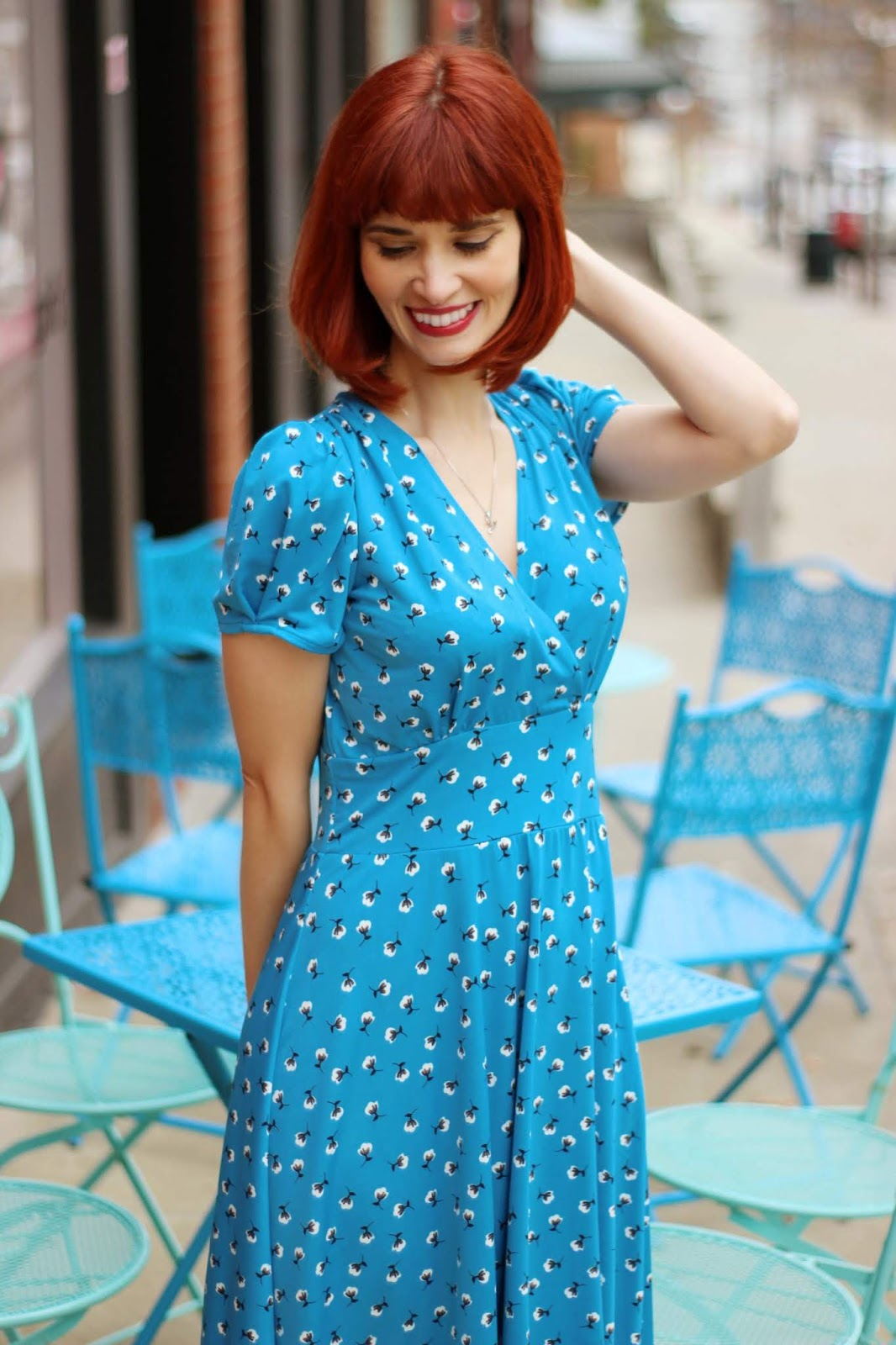 49e9d333bb3 The bright blue combined with the sweet white blossom with black contrast  print is so cheery and positively perfect for spring! KarinaDresses Megan  Dress ...