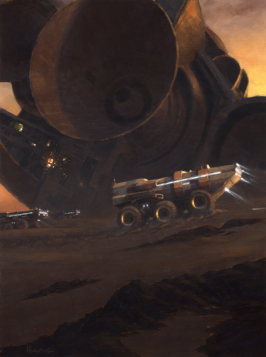 Oil painting of Mars exploration caravan at a giant spaceship wreck by Wayne Haag
