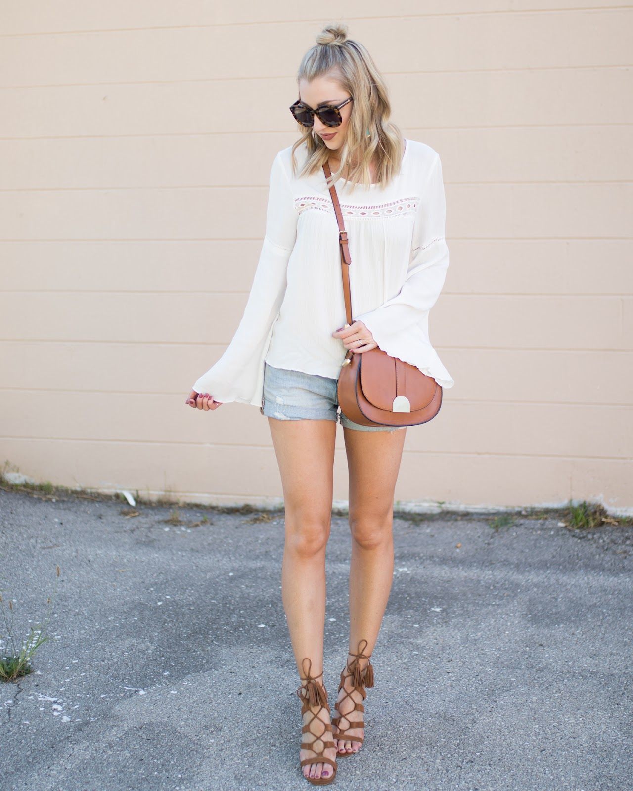 Bell sleeve top with jean shorts