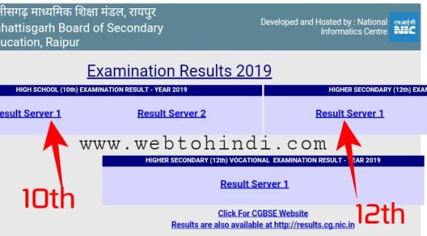 Chhattisgarh cgbse board 10th,12th 2019 ka result online mobile par