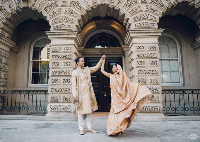 South Asian Bridal Wedding Photoshoot Golden Outfits