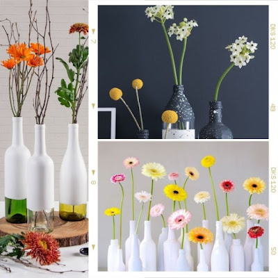 Decoración del día de los enamorados con flores y botellas