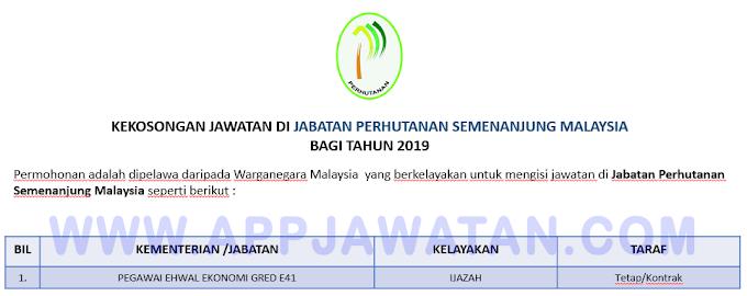 Jawatan Kosong Terkini di Jabatan Perhutanan Semenanjung Malaysia.