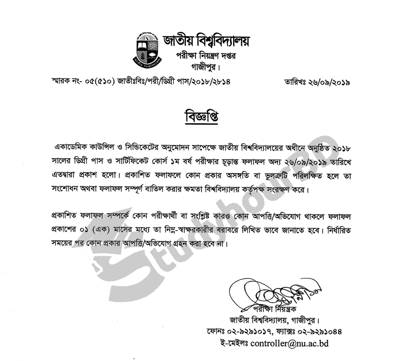 Degree 1st year result 2019 publish notice