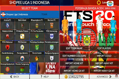 Download FTS 20 Mod Update Tim Promosi Shopee Liga 1 Indonesia 2020/2021