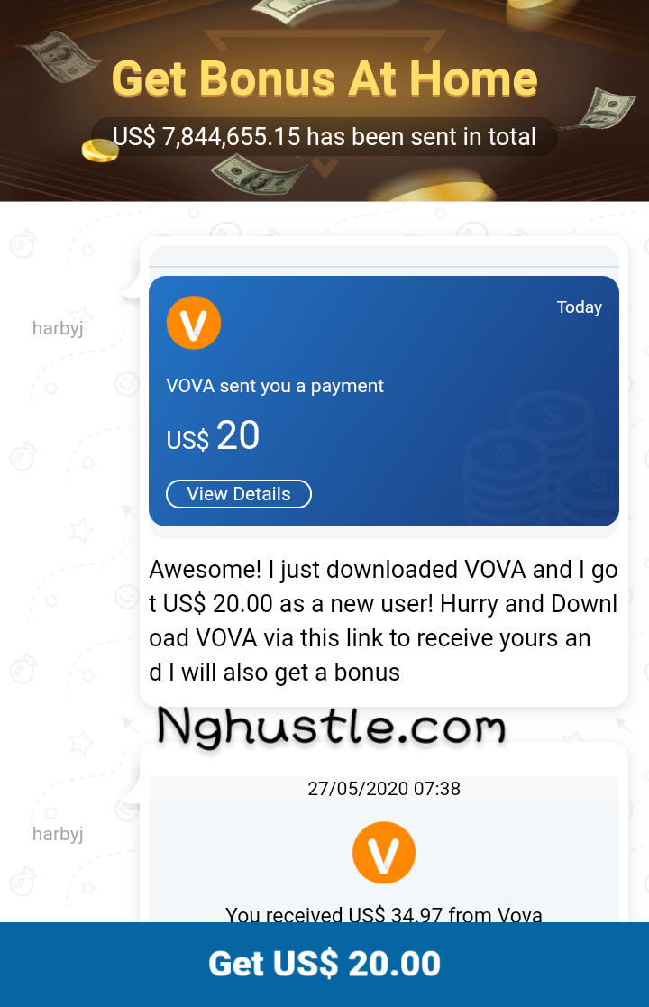 Earn 3 USD For Every 2 Referrals on Vova App