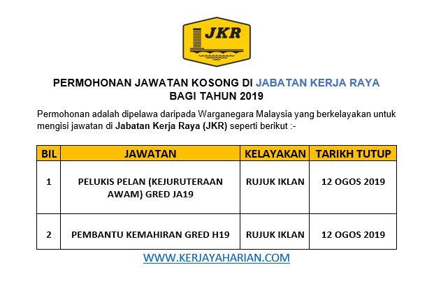 Jawatan Kosong Jabatan Kerja Raya (JKR) / Kelayakan Minima SPM