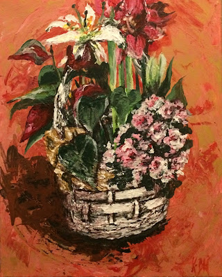 Karine Babel artiste peintre à Mareuil-en-Périgord a peint des lys et fleurs