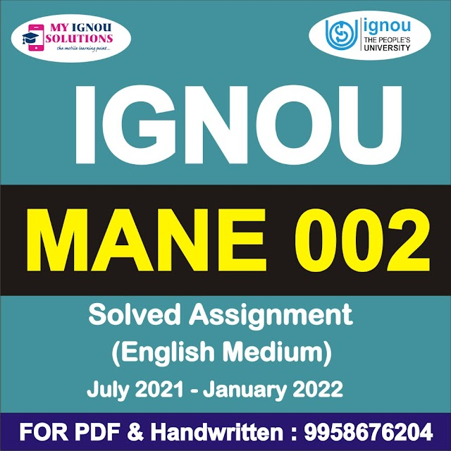 MANE 002 Solved Assignment 2021-22