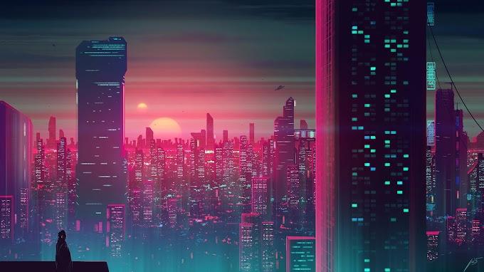 Cidade Cyberpunk Plano de Fundo Abstrato