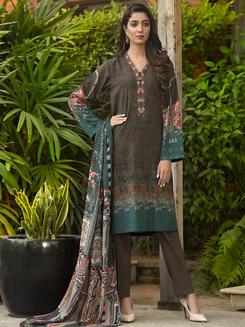 Limelight winter unstitched 3 piece khaddar suit brown colour with wool shawl