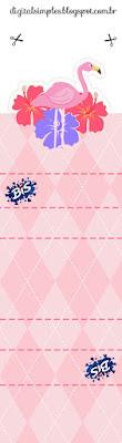 Flamingo: Etiquetas para Candy Bar e Invitación para Descargar Gratis.