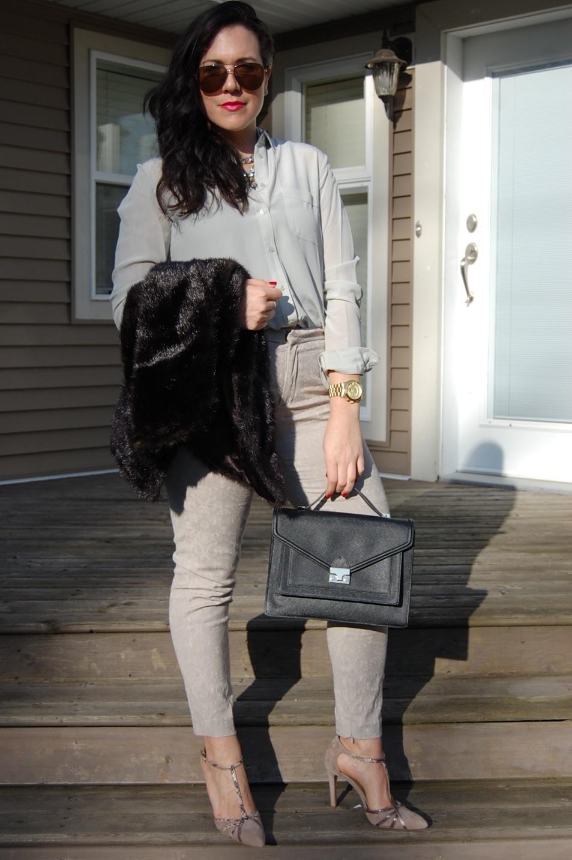 Zara Pants Joe Fresh Silk Blouse Vera Vest Loeffler Randall Rider Bag