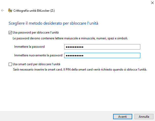Crittografia unità BitLocker schermata Scegliere il metodo desiderato per sbloccare l'unità