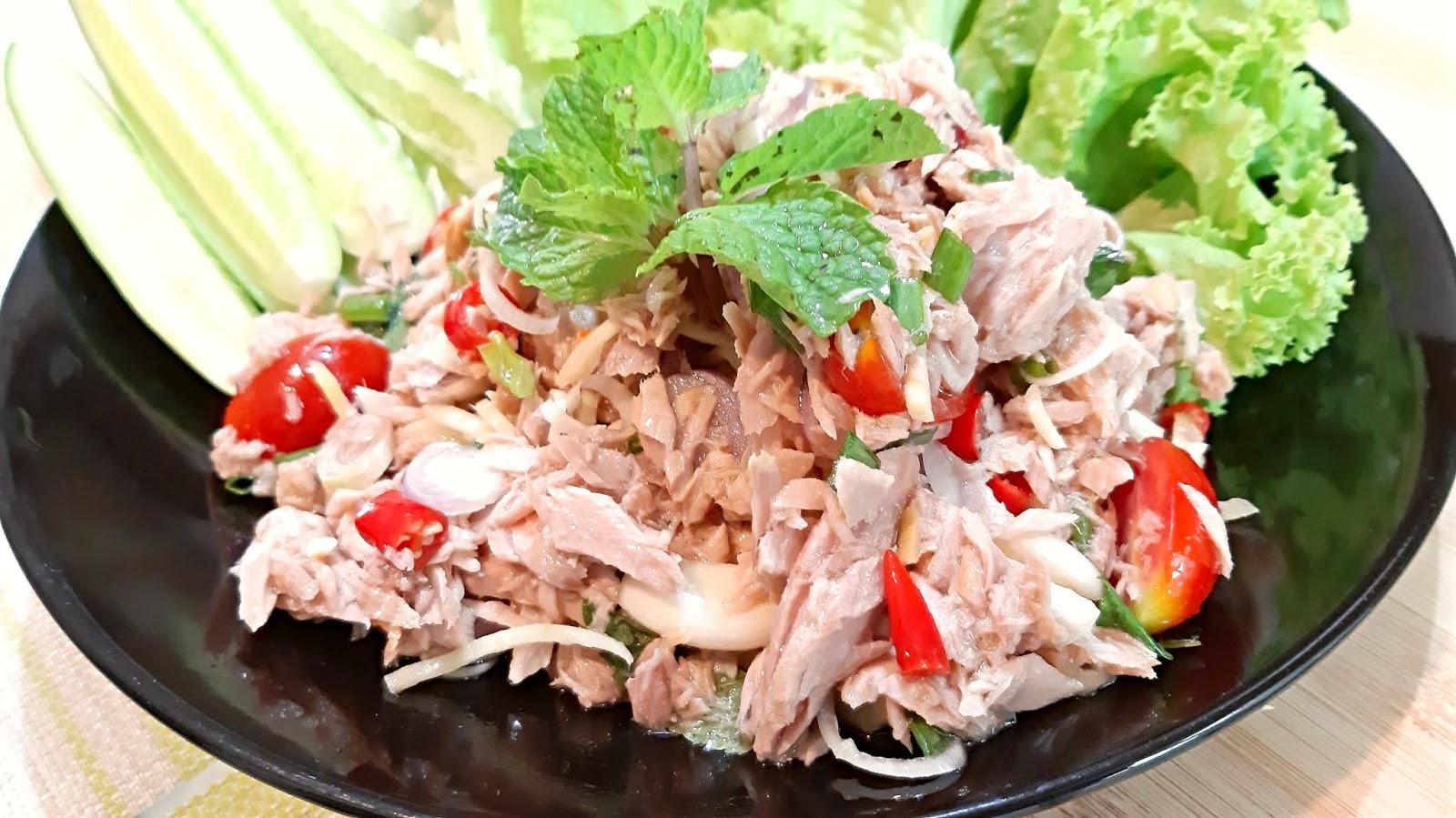 ยำทูน่า Spicy Tuna Salad เมนูอาหารสุขภาพ ยําปลาทูน่ากระป๋อง  ลดน้ำหนักด้วยอาหารง่าย ๆ กับข้าวเมนูยำทำกินเองที่บ้าน Thai Food - Health  can do