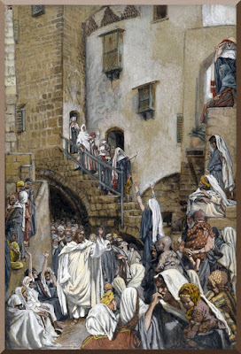 """""""A Woman Cries Out in a Crowd"""" -- by James Tissot- PD-1923"""