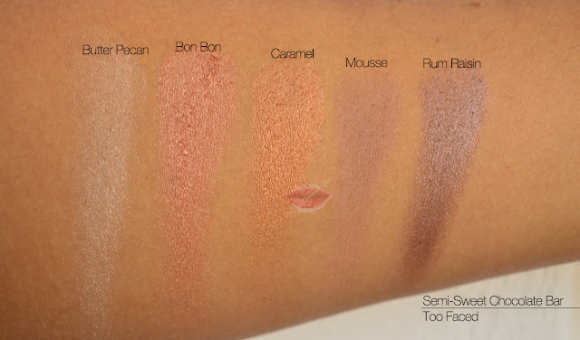 RSemi-Sweet Chocolate Bar, Too Faced, Butter Pecan, Bon Bon, Caramel, Mousse, Rum Raisin, Swatches