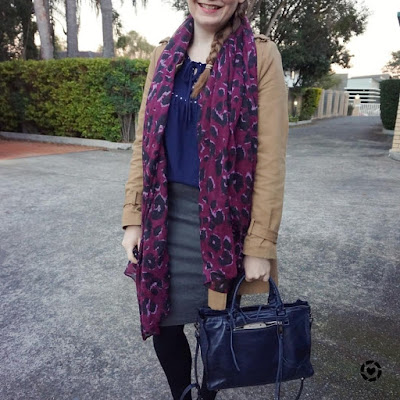awayfromtheblue instagram | pruple leopard print scarf winter office outfit navy blouse grey skirt trench coat
