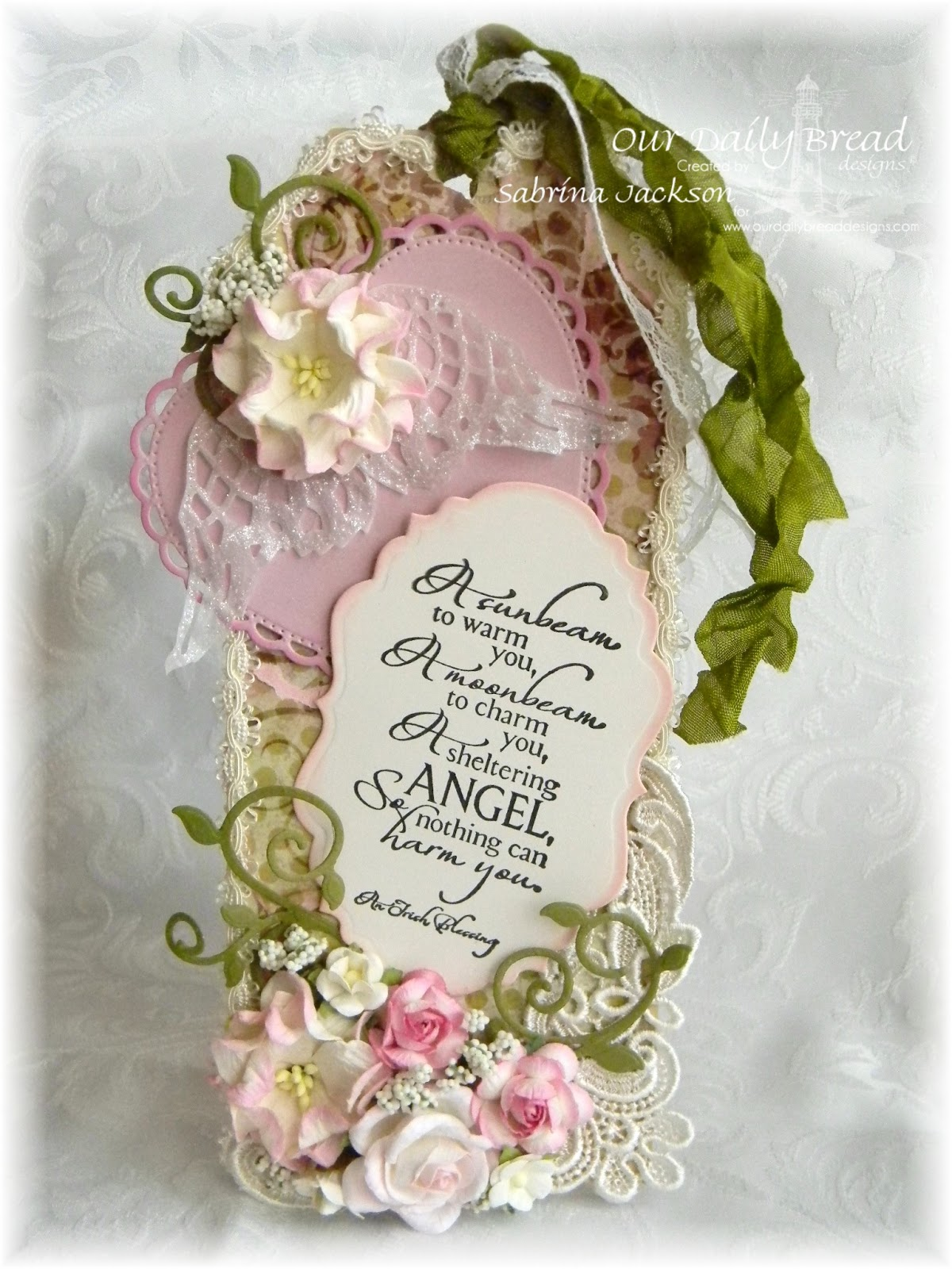 Stamps - Our Daily Bread Designs Sheltering Angel, ODBD Custom Vintage Labels Die, ODBD Custom Ornate Hearts Die, ODBD Custom Angel Wings Die, ODBD Custom Fancy Foliage Die, ODBD Rustic Beauty Paper Collection
