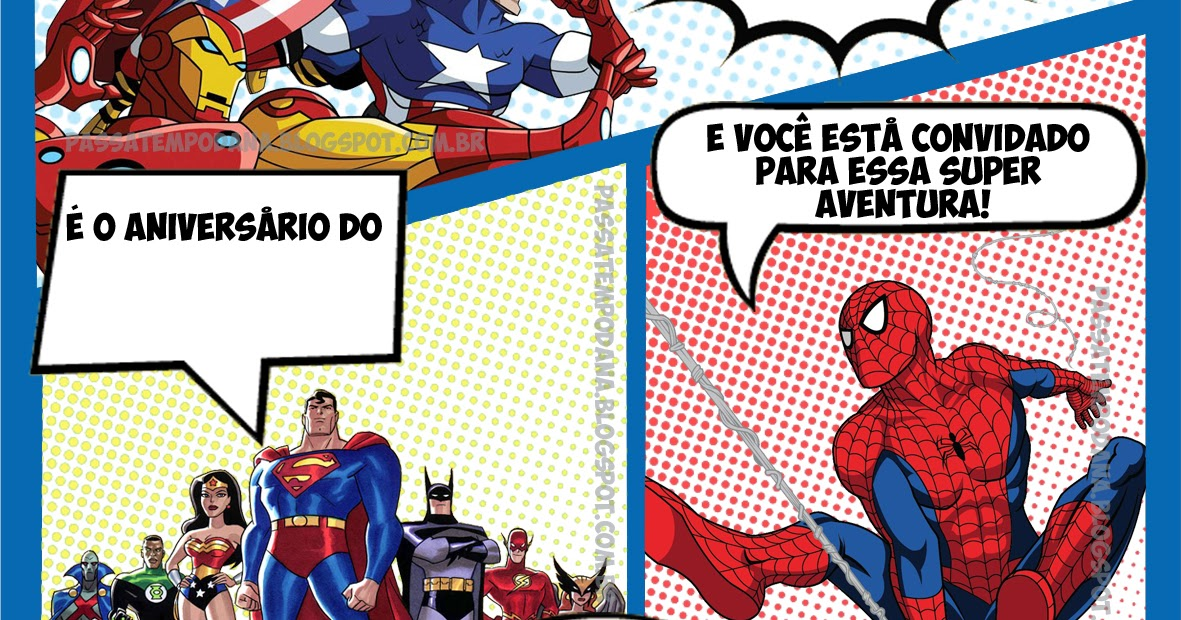 Passatempo Da Ana Convite Gibi Super Heróis