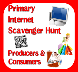 Free internet scavenger hunt for first grade - producers and consumers with a QR code option - from Raki's Rad Resources.