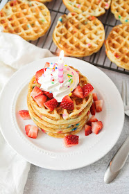 These birthday cake waffles are so delicious, easy to make, and perfect for a birthday breakfast!
