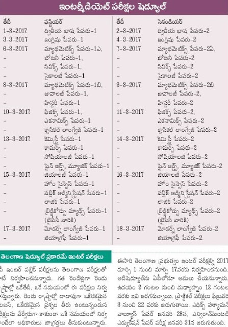 TS Inter 1st - 2nd Year Time Table 2017