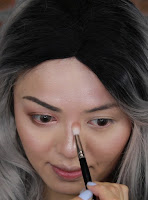 Contour the nose with the crease blending brush