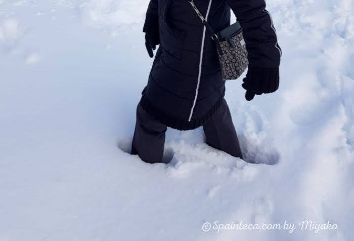 雪にずっぽり埋もれる足