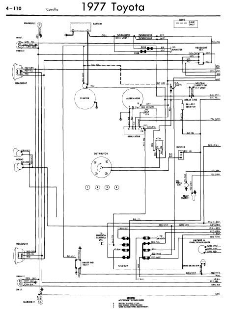 repairmanuals: Toyota Corolla 1977 Wiring Diagrams