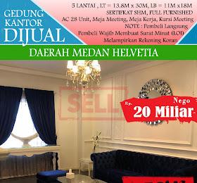 Gedung Kantor 5 Lantai dijual di daerah Medan Helvetia <del>Rp 25 Miliar </del> <price>Rp. 20 Miliar </price> <code>gedungkantordijualmedanhelvetia</code>