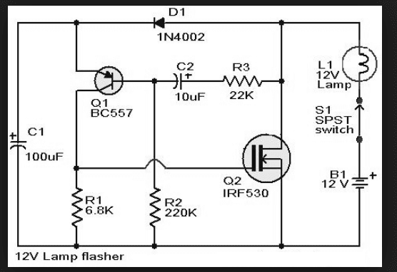 Wiring Schematic Diagram: IRF530 Fet Flasher Circuit