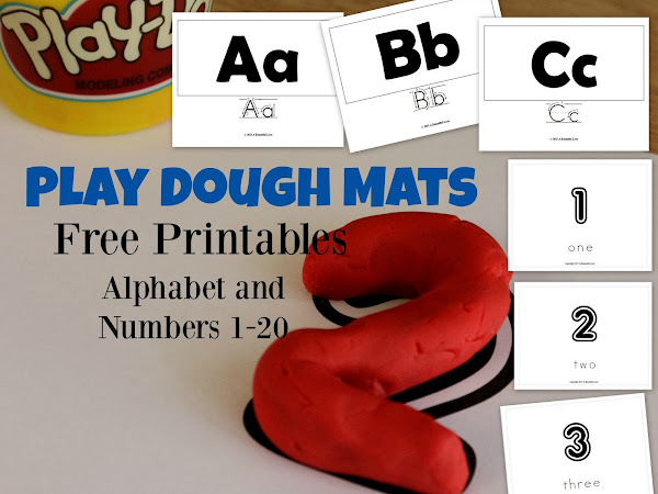Alphabet and Numbers Play Dough Mats - Free Printable